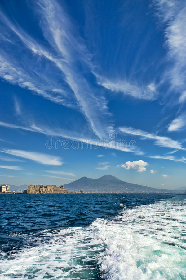 Mount Vesuvius and Castel dell Ovo royalty free stock images