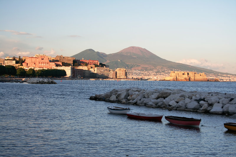 Gulf of Naples at sunset stock image