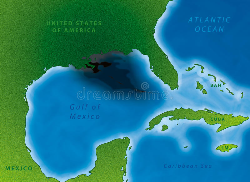 Gulf Oil Spill Map. Textured and labeled map showing extent of Gulf of Mexico oil spill vector illustration