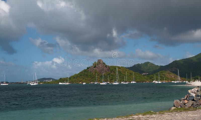 Gulf and parking of yachts on tropical island. Philipsburg, Saint-Martin. 15-01-2015 royalty free stock photos