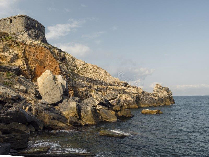 Rocks in Gulf of the Poets Porto venere stock photos