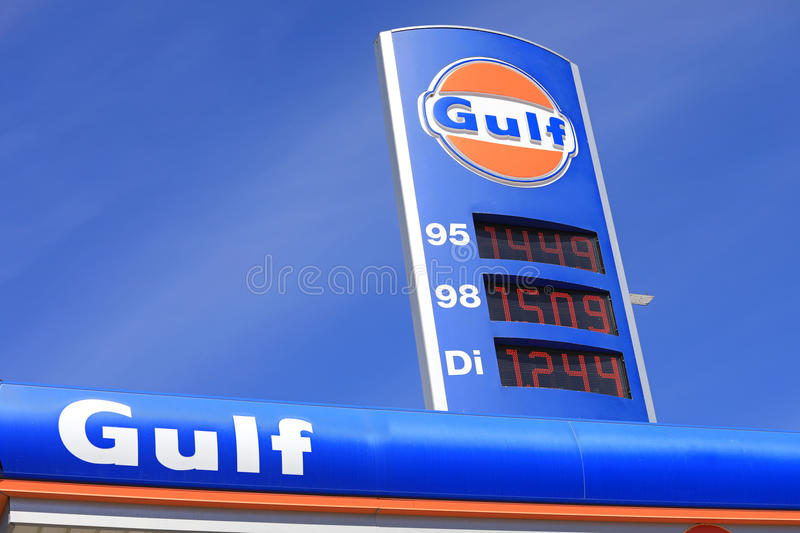 Gulf Service Station Sign with Fuel Prices stock photo