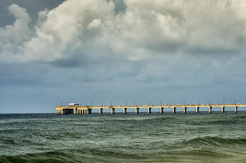 Gulf Shores AL Fishing Pier. Morning Photo of the Gulf Shores Fishing Pier in Alabama USA stock photo