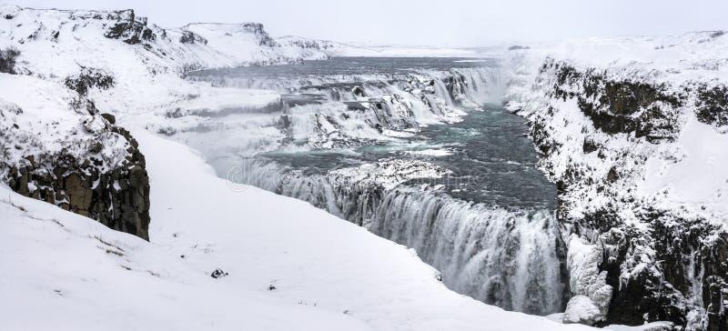 Gulfoss瀑布在冬天,冰岛 库存照片