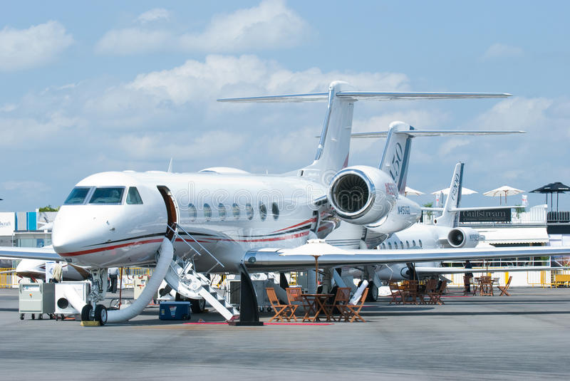 Gulfstream business jets at Singapore Airshow stock image