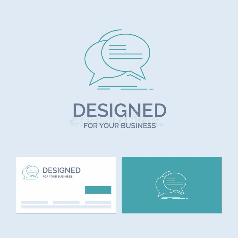 Gulgocze, gawędzi, komunikacja, mowa, rozmowa logo linii ikony Biznesowy symbol dla twój biznesu Turkusowe wizyt?wki z gatunkiem royalty ilustracja