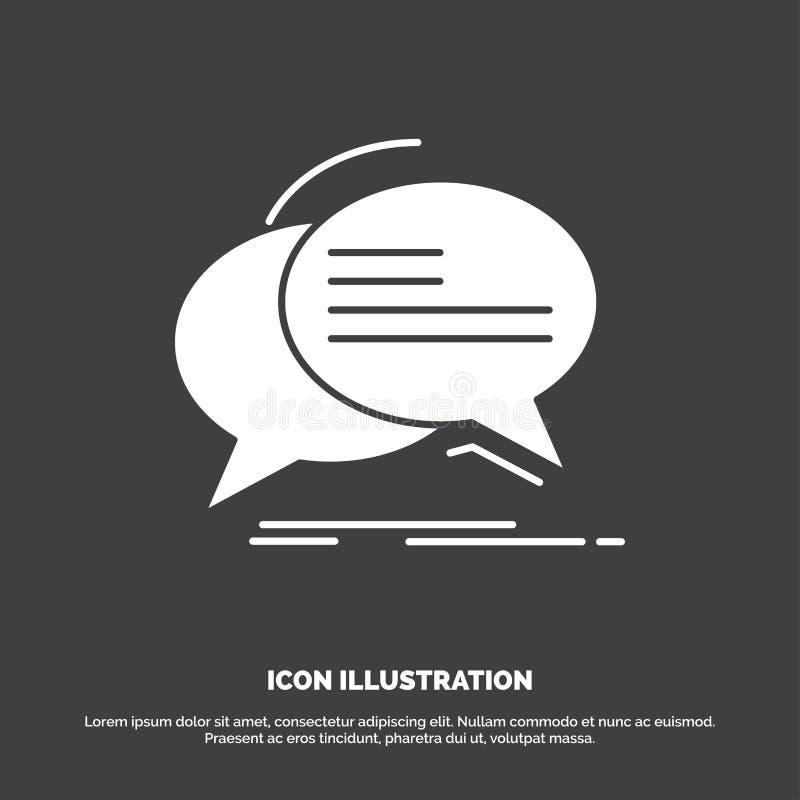 Gulgocze, gawędzi, komunikacja, mowa, rozmowy ikona glifu wektorowy symbol dla UI, UX, strona internetowa i wisz?cej ozdoby zasto royalty ilustracja