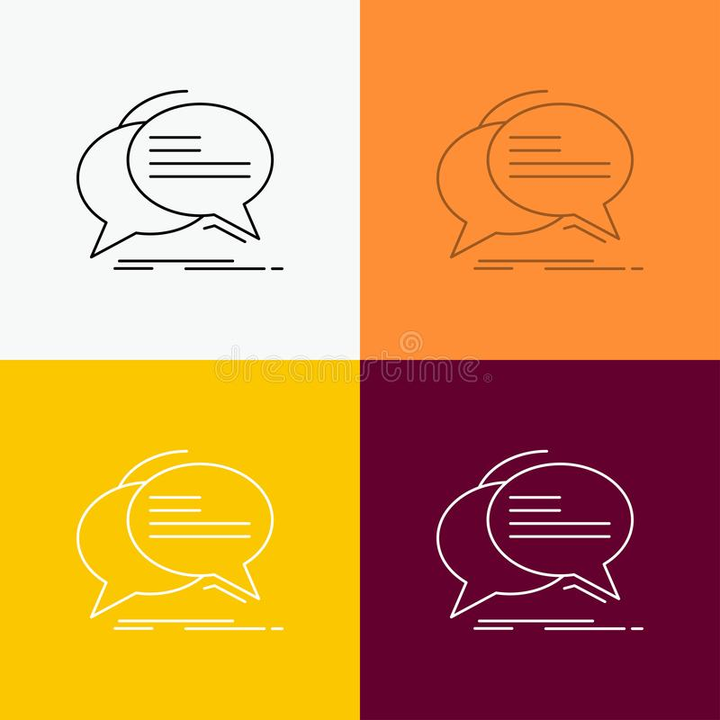 Gulgocze, gawędzi, komunikacja, mowa, rozmowy ikona Nad Różnorodnym tłem Kreskowego stylu projekt, projektuj?cy dla sieci i app E ilustracji