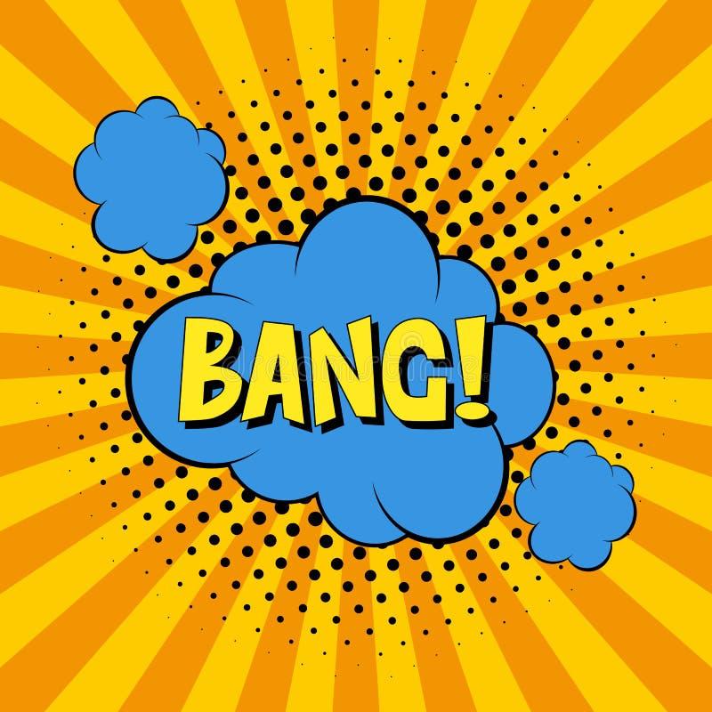 gulgocze komiczną mowę Wystrzał sztuki etykietki wektorowa ilustracja Rocznik komiczek książkowy plakat na żółtym tle ilustracja wektor