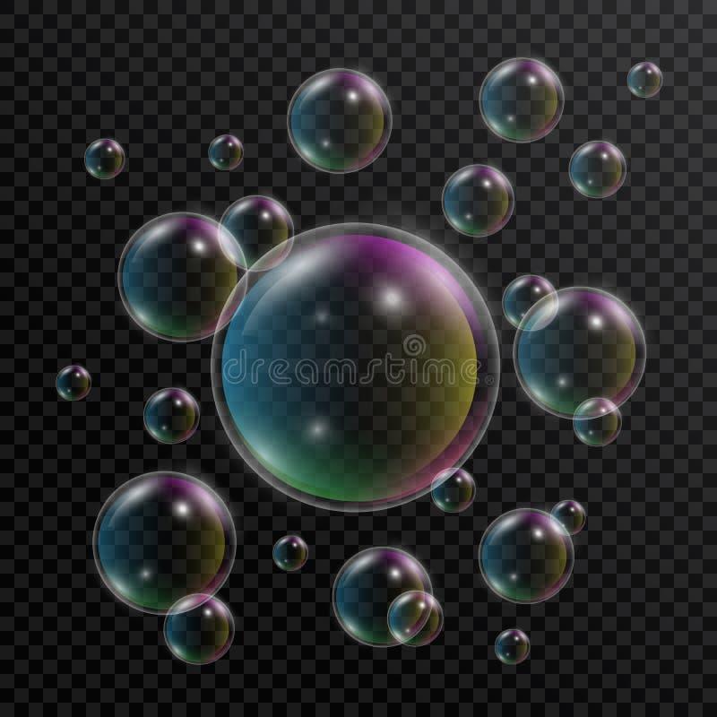 gulgocze realistycznego mydło Set mydlani bąble z tęczy odbiciem na przejrzystym tle 3d bąbel wektor ilustracja wektor
