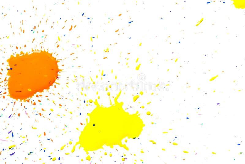 Guling-apelsin vattenfärgfläckar som isoleras på vit vektor illustrationer