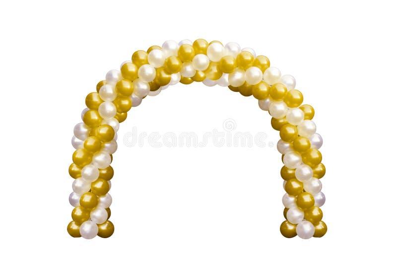 Guling för guld för ballongvalvgångdörren och vit, bågar som gifta sig, beståndsdelar för garnering för ballongfestivaldesign med arkivbilder