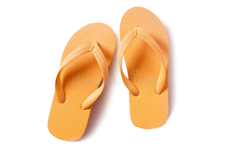 Guling för sandaler för strand för Flipmisslyckande som isoleras på vit bakgrund fotografering för bildbyråer