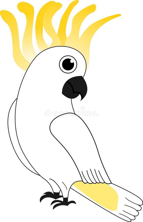 Guling-krönad kakadua som ser dig! vektor illustrationer