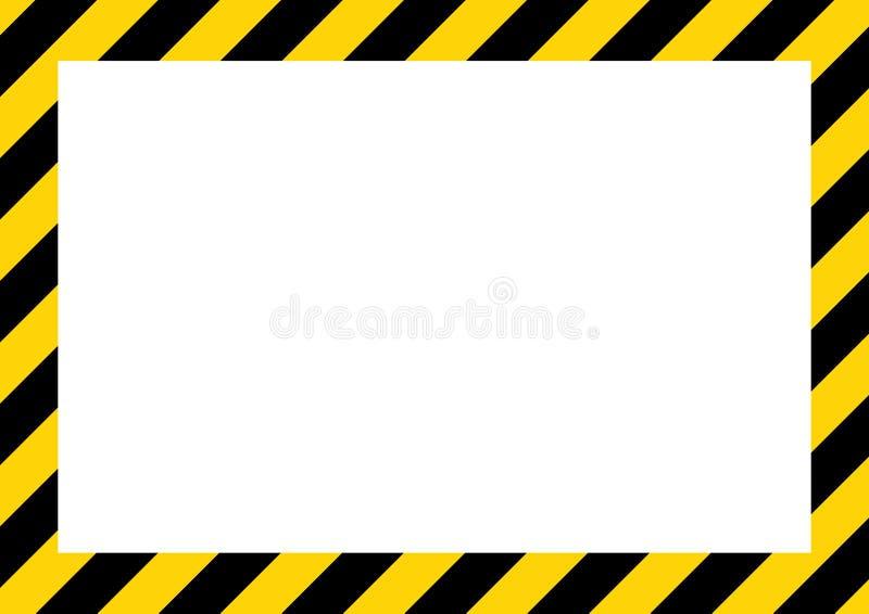 Guling- och svartband på det diagonala rektangulära varningstecknet, symbol, illustration vektor illustrationer