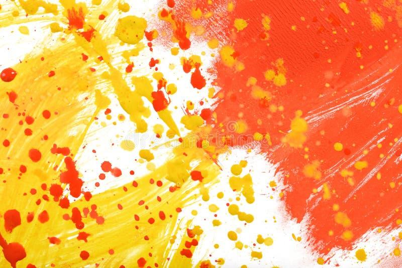 Guling-röd hand-målad textur för gouacheslaglängdkludd stock illustrationer