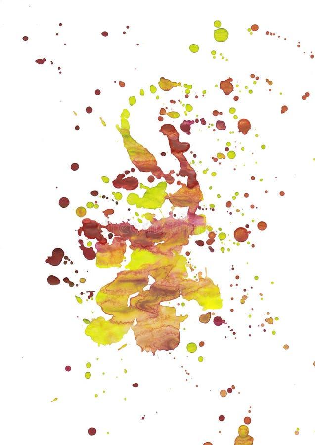Guling-röda fläckdroppander för ljus vattenfärg Abstrakt illustration p? en vit bakgrund Baner för text, grungebeståndsdel för de vektor illustrationer