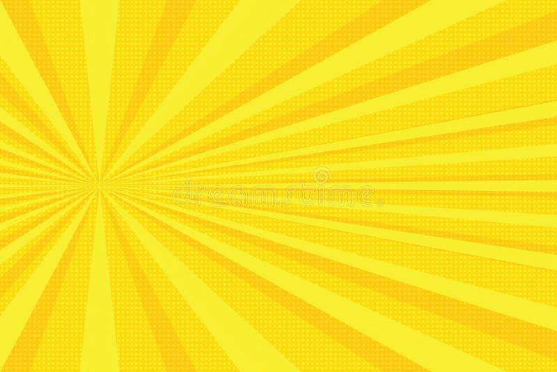 Guling rays bakgrund för popkonst royaltyfri illustrationer