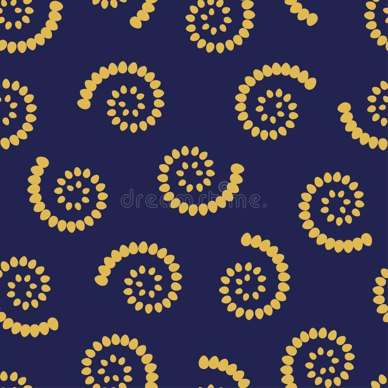 Guling virvlar runt på sömlös modell för blå bakgrund stock illustrationer