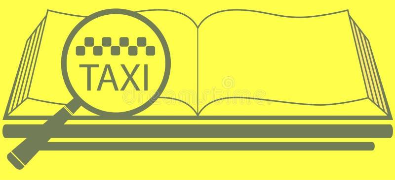 Boka med förstoringsapparat och taxa symbolet royaltyfri illustrationer