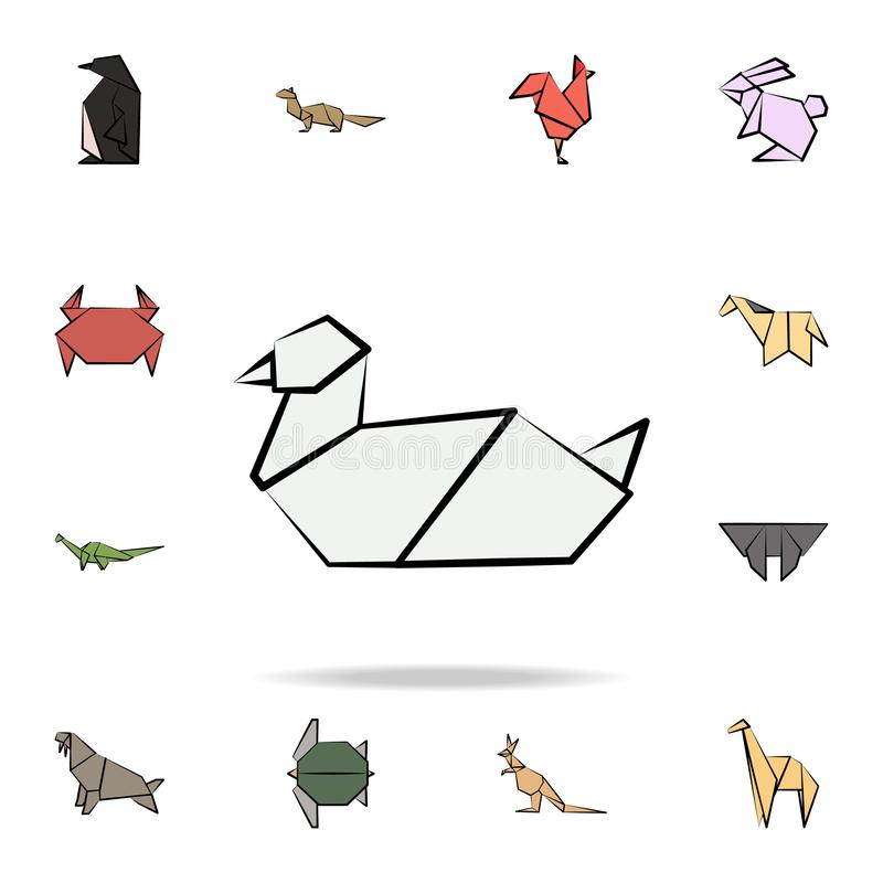 Gull colored origami icon. Detailed set of origami animal in hand drawn style icons. Premium graphic design. One of the collection. Icons for websites, web stock illustration