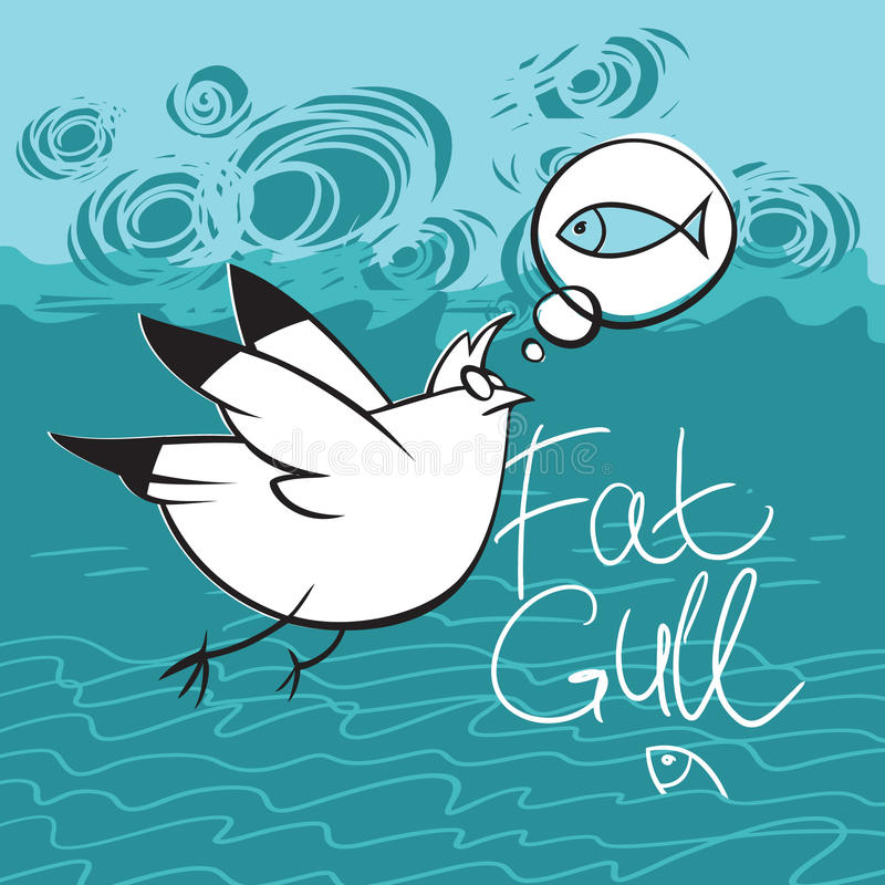 Gull Flying over the Sea. Fat gull dreaming about fish vector illustration