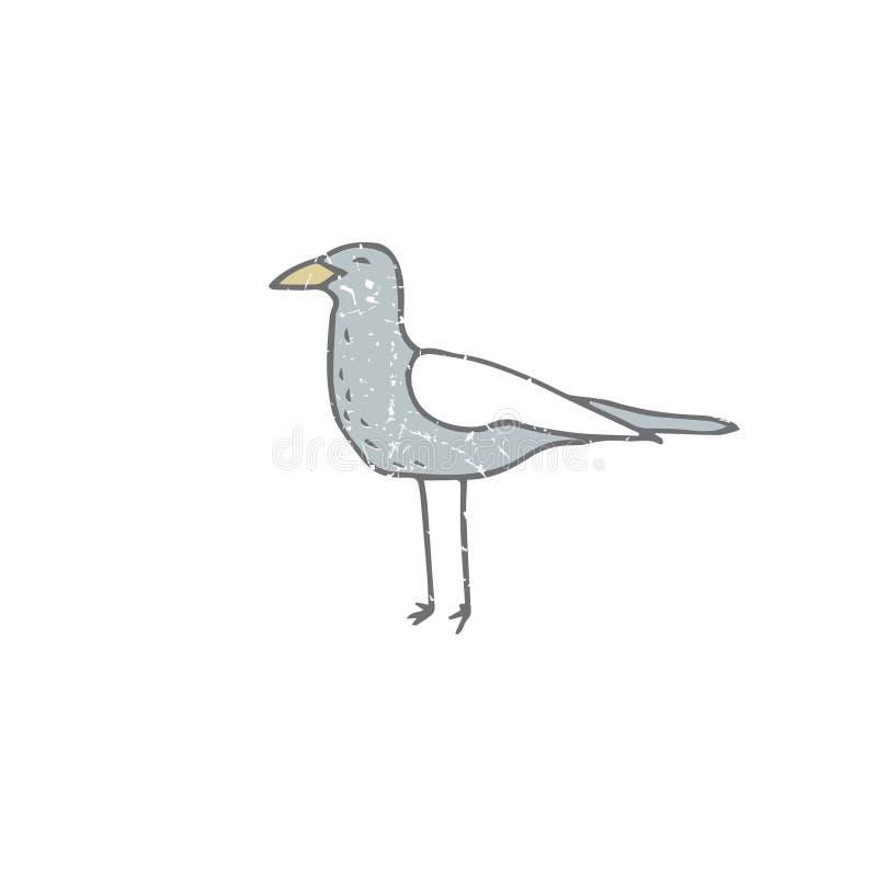 Gull l'animale divertente di arte dell'uccello del mare di vettore di stile del disegno di illutration dell'uccello del gabbiano  illustrazione vettoriale