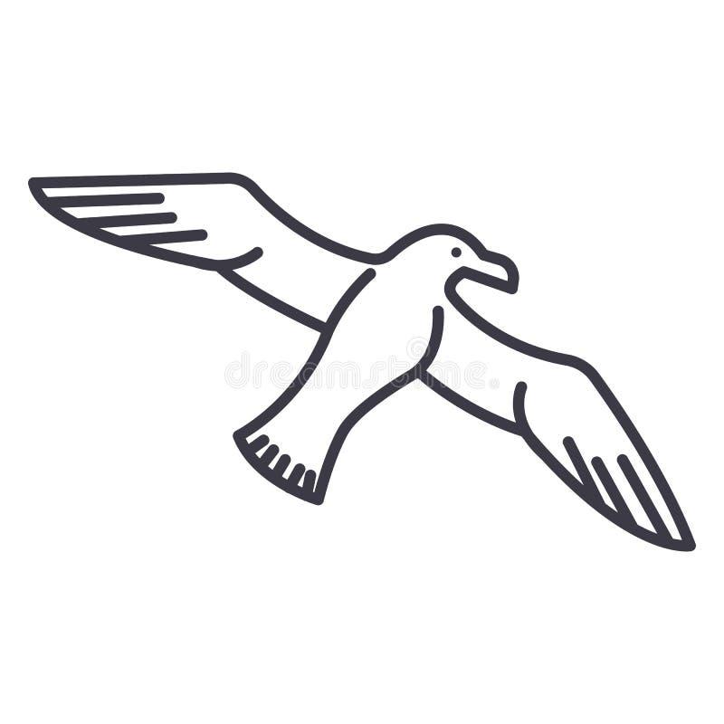 Gull, linea l'icona, il segno, illustrazione di vettore del gabbiano su fondo, colpi editabili illustrazione vettoriale