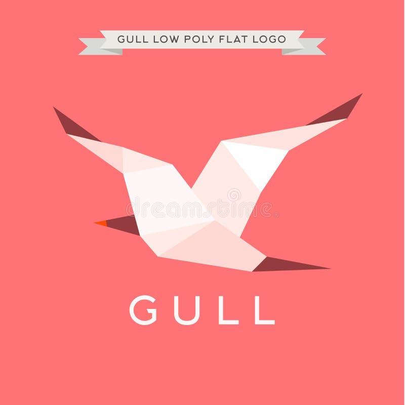 Gull poli basso, il poligono, la geometria dell'illustrazione di logo illustrazione di stock