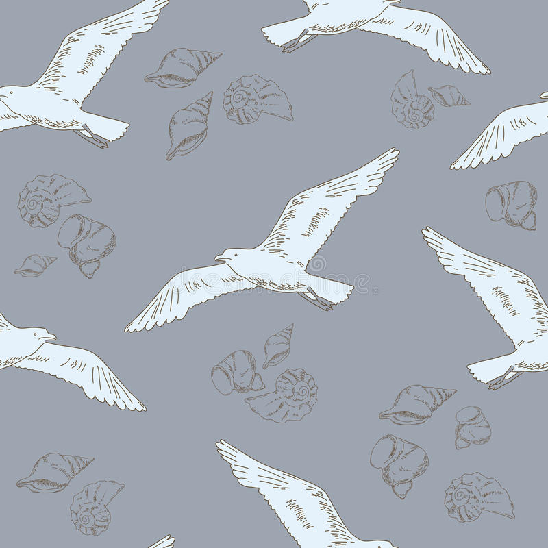 Gull and shell. On the delicate gray background vector illustration