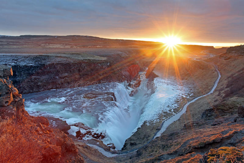 Gullfoss瀑布冰岛 库存照片