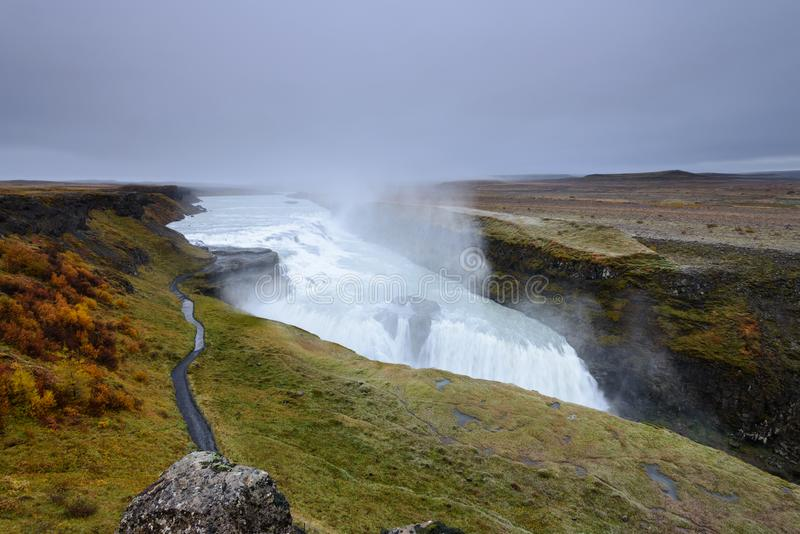 Gullfoss is an amazing waterfall located in the canyon of Hvita river in southwest Iceland royalty free stock image