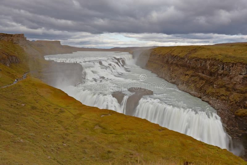 Gullfoss, cachoeiras douradas, Islândia fotografia de stock