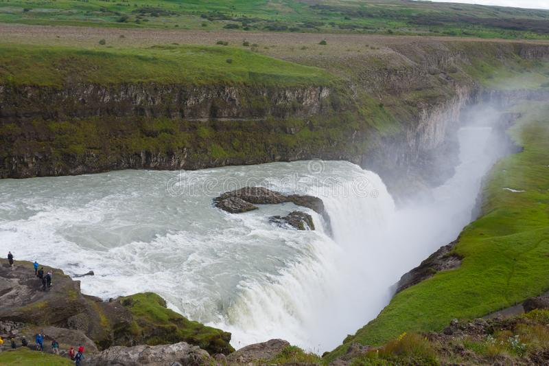Gullfoss falls in summer season view, Iceland royalty free stock photography