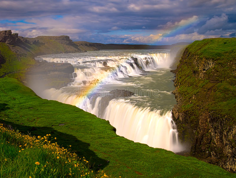 Gullfoss, IJsland royalty-vrije stock afbeelding