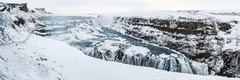 Gullfoss Marznąca panorama zdjęcia stock