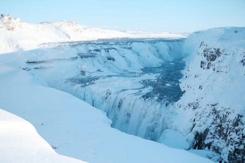Gullfoss siklawa w zimie Piękna siklawa Gullfoss, sławny punkt zwrotny w Iceland zdjęcia stock
