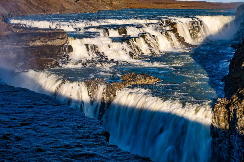 Gullfoss siklawy widok w Iceland w Europa obrazy royalty free