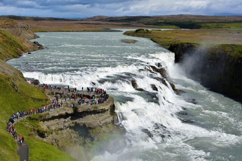 Gullfoss vattenfall royaltyfri foto