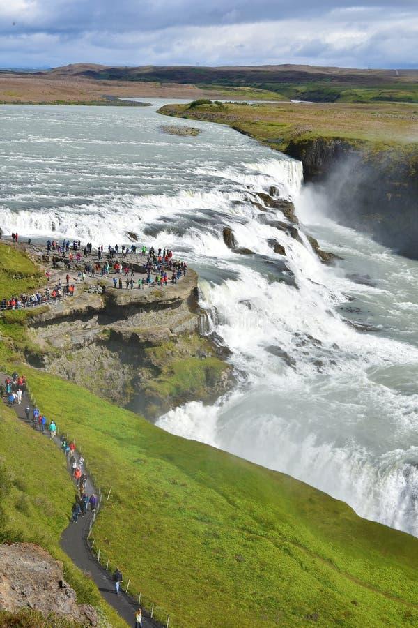 Gullfoss vattenfall fotografering för bildbyråer