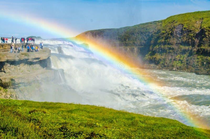 Gullfoss - vattenfall Island arkivfoto