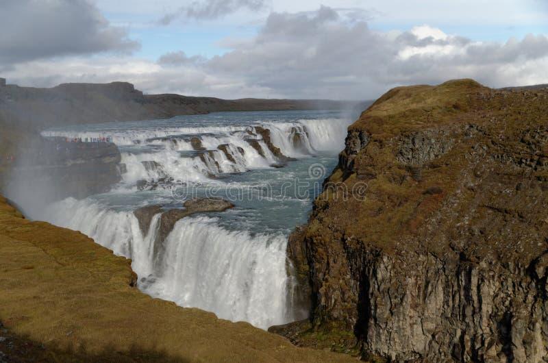 Gullfoss-Wasser-Fall in Island stockbilder