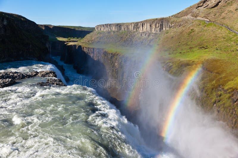 Gullfoss-Wasserfall, Island. lizenzfreies stockbild