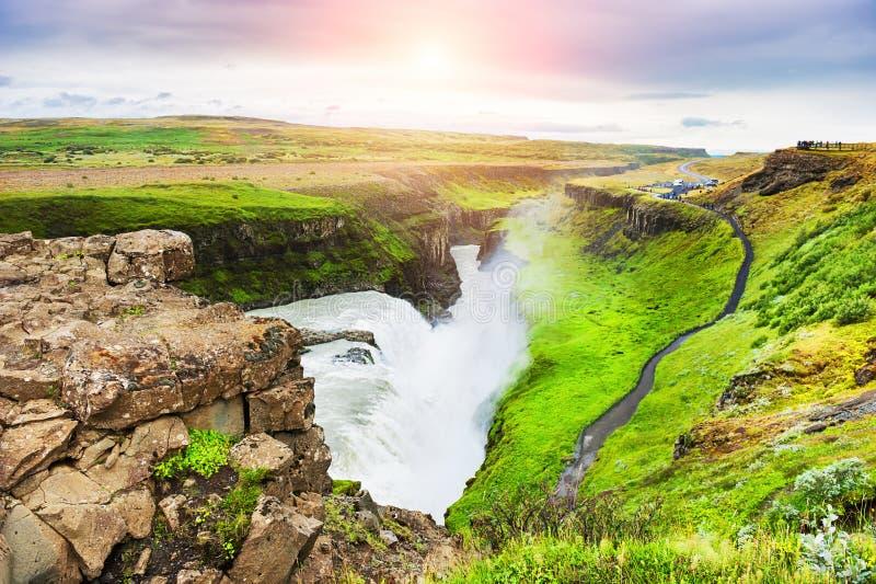 Gullfoss Wasserfall, Island lizenzfreies stockbild