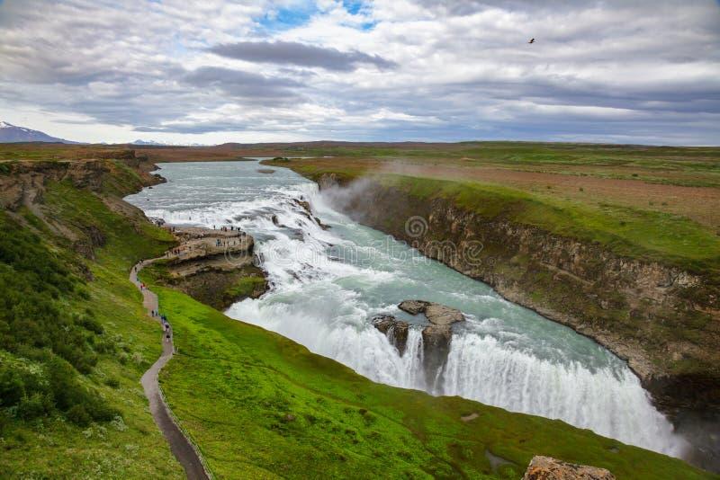 Gullfoss-Wasserfallvogelperspektive Hvita-Fluss Südwesten Island Skandinavien lizenzfreie stockbilder