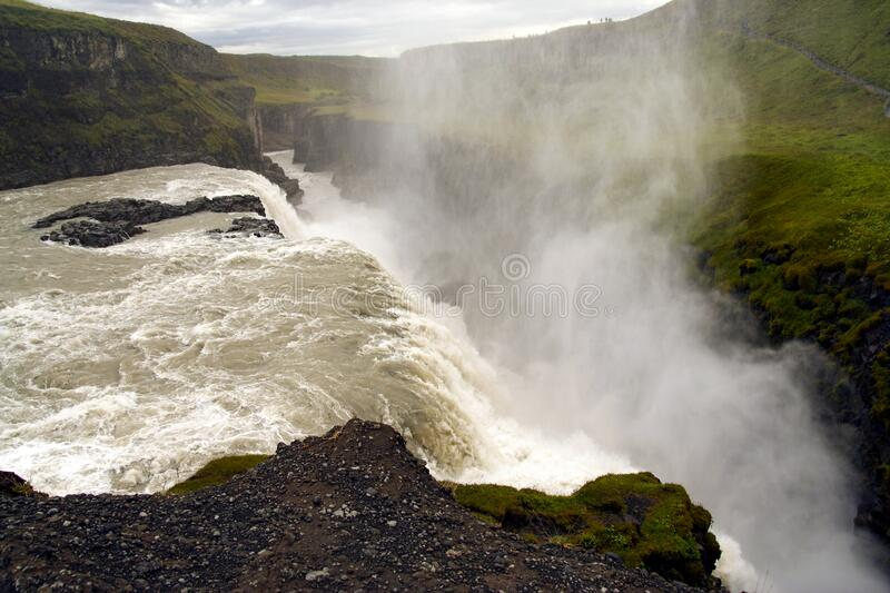Gullfoss waterfall at summer, southwest Iceland royalty free stock photography