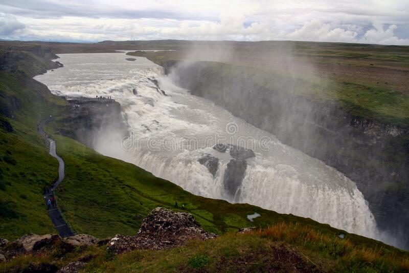 Gullfoss waterfall at summer, southwest Iceland royalty free stock images