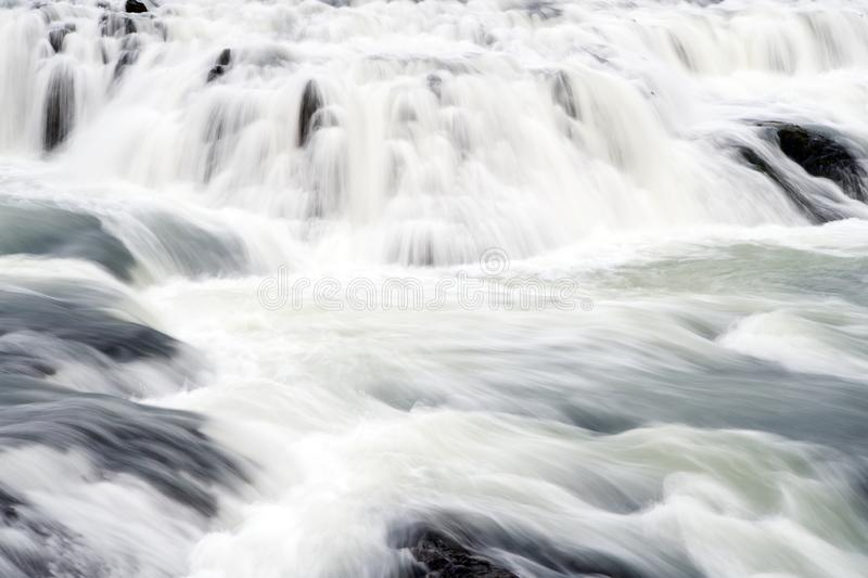Gullfoss waterfall located in canyon river southwest Iceland. Water stream flow. Waterfall nature landscape. Tourist. Destinations concept. Waterfall popular stock image
