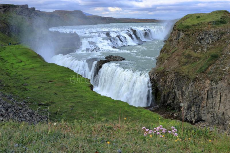 Gullfoss Waterfall from Lower Viewpoint, Western Iceland royalty free stock images