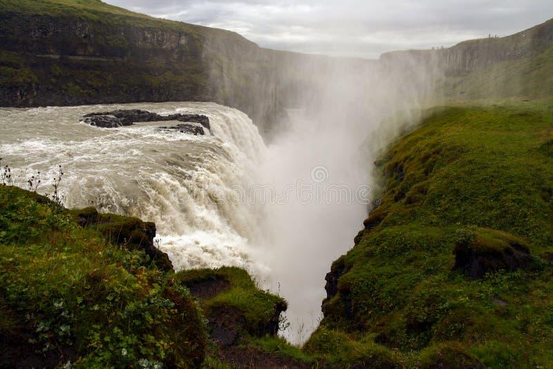 Gullfoss waterfall at summer, southwest Iceland stock image